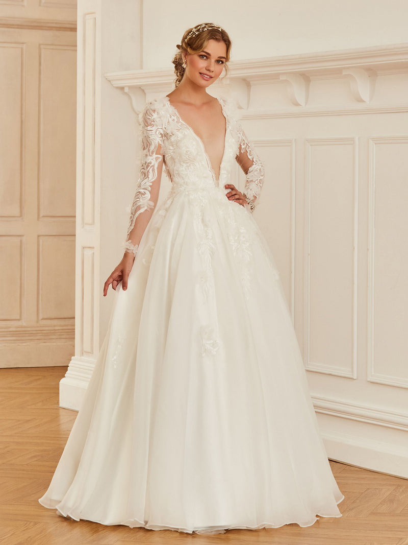 Floor-Length Ball Gown Lace V-Neck Hall Wedding Dress