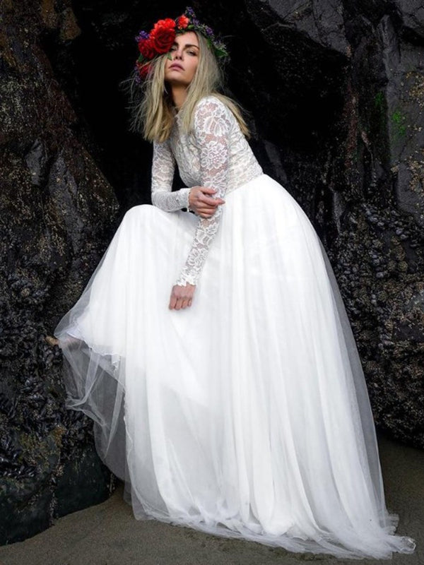 Long Sleeves A-Line Jewel Sweep/Brush Garden/Outdoor Wedding Dress