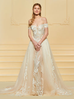 Sheath/Column Off-The-Shoulder Lace Watteau Garden/Outdoor Wedding Dress