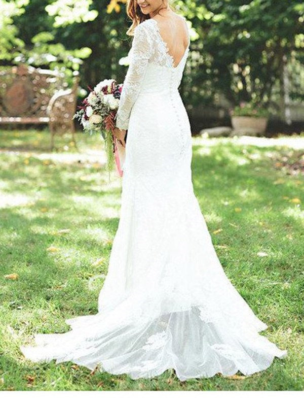Lace Court Trumpet/Mermaid Floor-Length Garden/Outdoor Wedding Dress