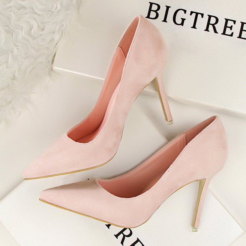 Pointed Toe Stiletto Heel Slip-On Banquet Ultra-High Heel Thin Shoes