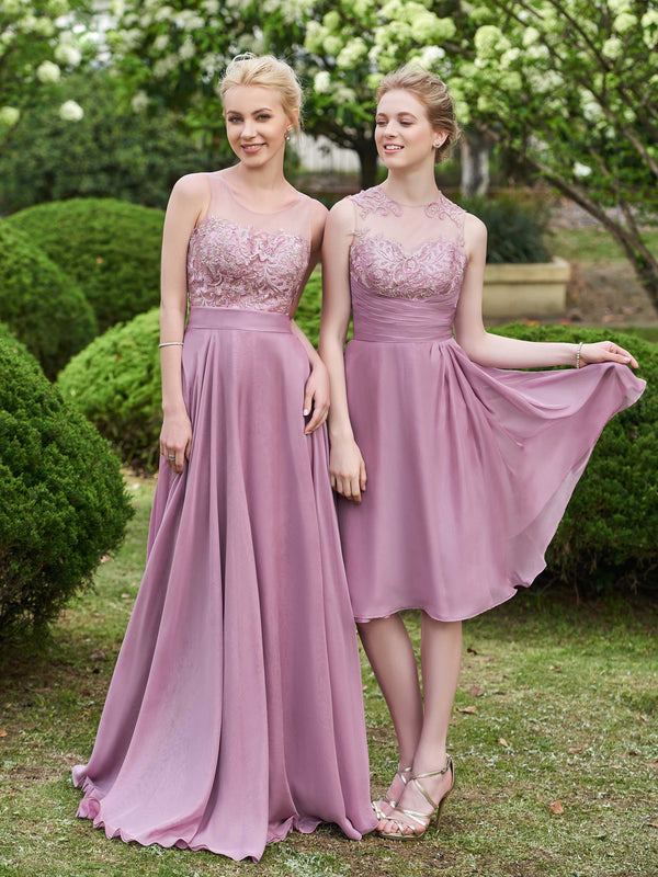Sleeveless Pleats Scoop A-Line Wedding Party Dress