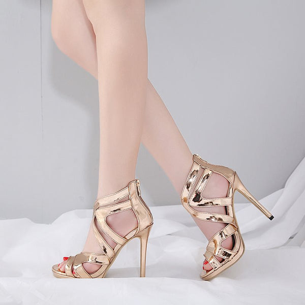 Heel Covering Stiletto Heel Zipper Peep Toe Platform Casual Sandals