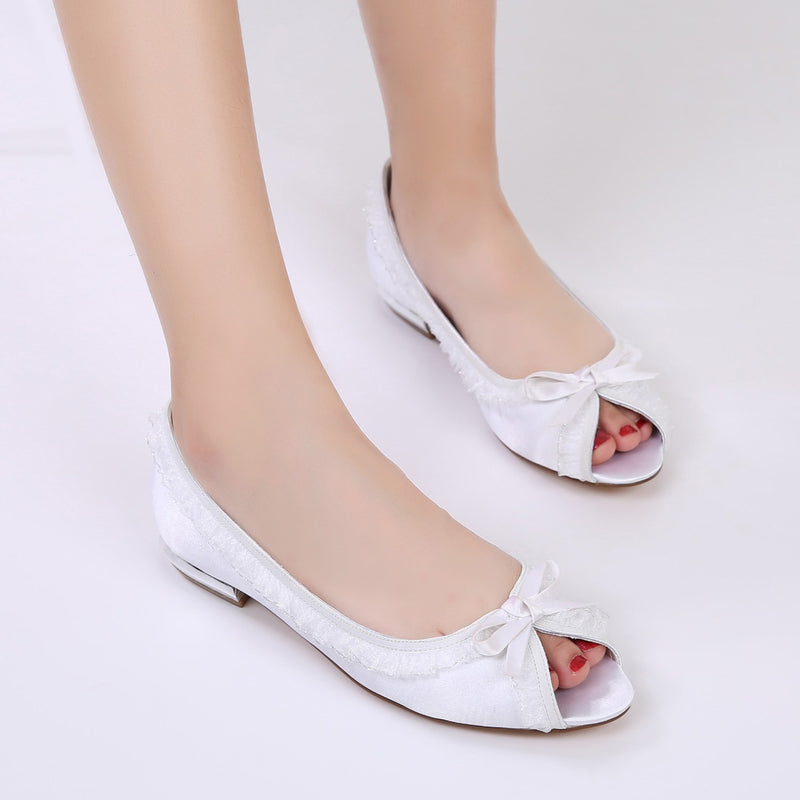 Peep Toe Bow Slip-On Block Heel Low-Cut Upper Plain Thin Shoes