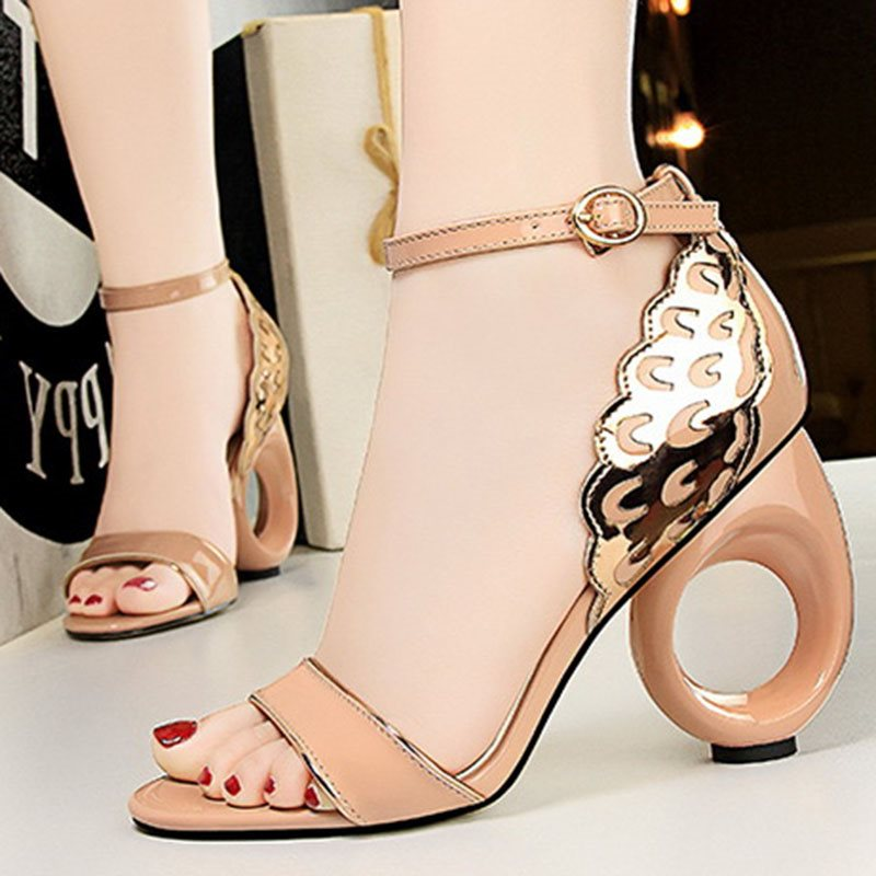 Shaped Heel Open Toe Heel Covering Line-Style Buckle Casual Low-Cut Upper Sandals
