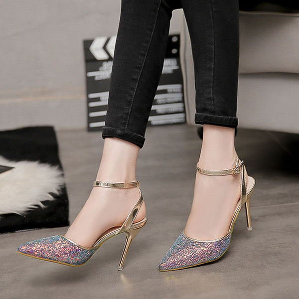 Line-Style Buckle Closed Toe Stiletto Heel Ankle Strap Sequin Low-Cut Upper Sandals