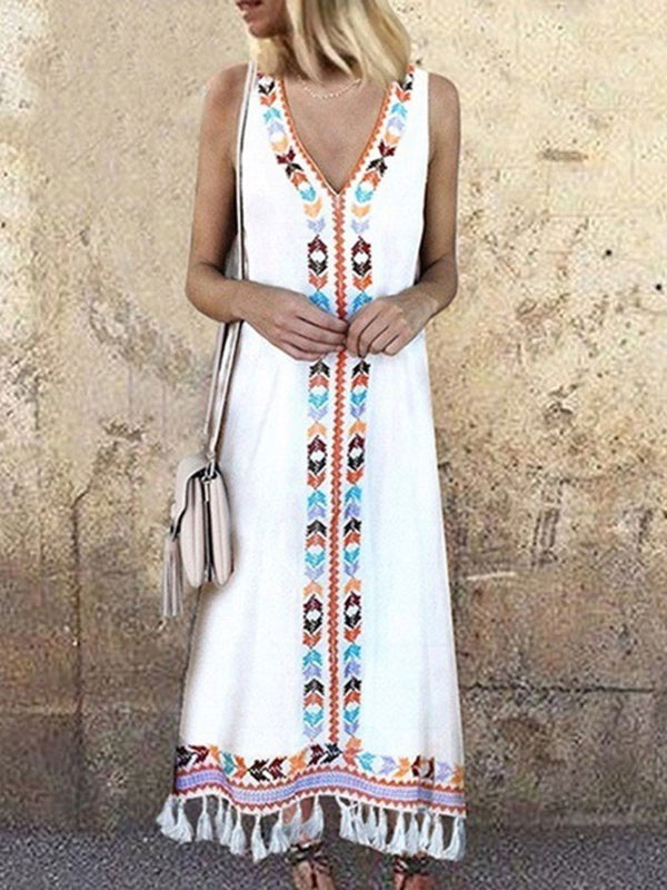 Print Ankle-Length V-Neck Geometric Pullover Dress