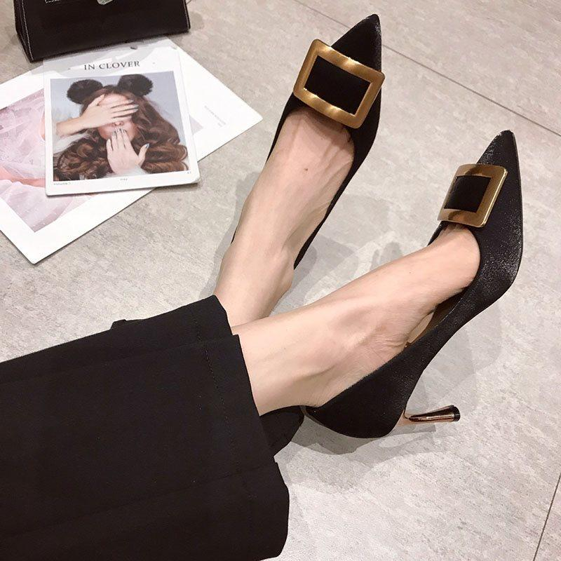Thread Pointed Toe Stiletto Heel Slip-On High Heel Sexy Thin Shoes