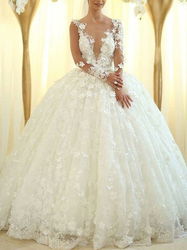 V-Neck Long Sleeves Ball Gown Flowers Hall Wedding Dress