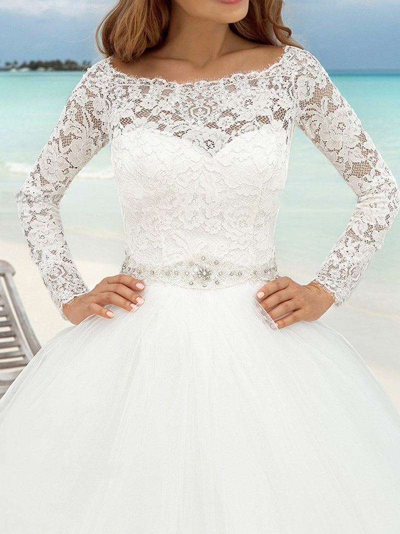 Floor-Length Long Sleeves Beading Ball Gown Hall Wedding Dress
