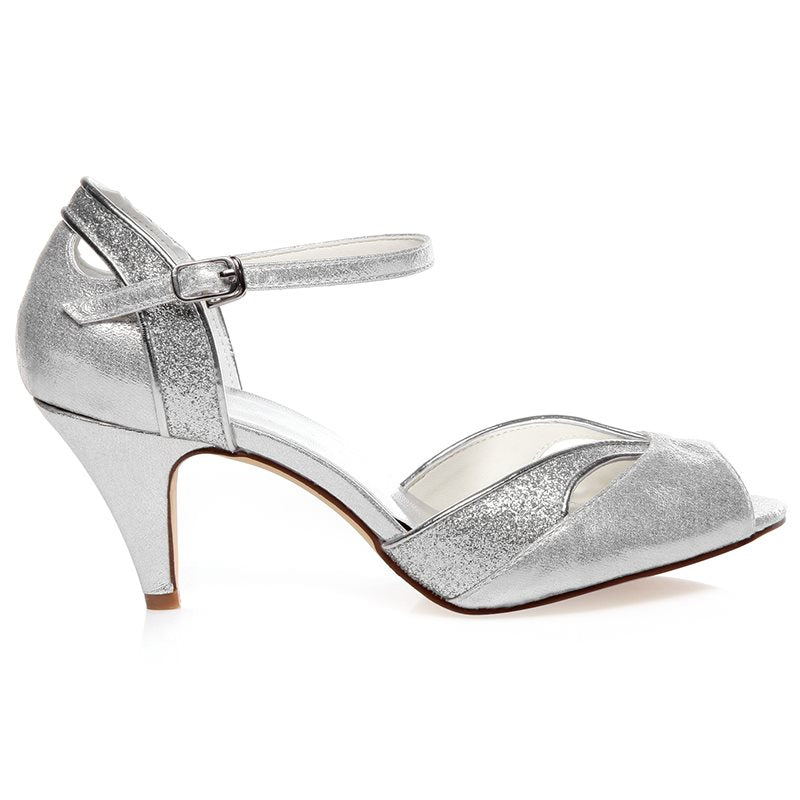 Peep Toe Line-Style Buckle Stiletto Heel Heel Covering Low-Cut Upper Plain Sandals
