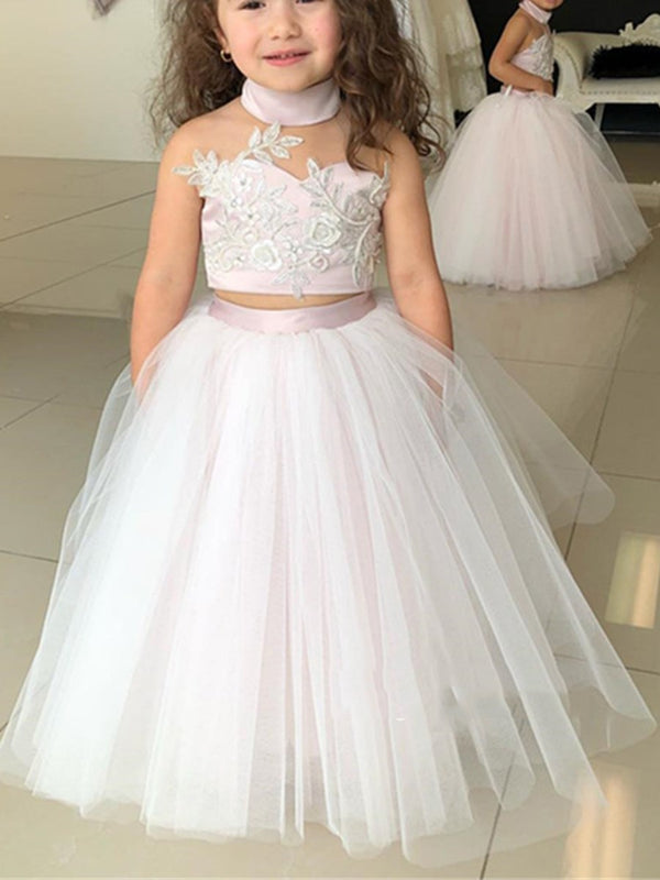 Sleeveless Appliques High Neck Ball Gown Flower Girl Dress