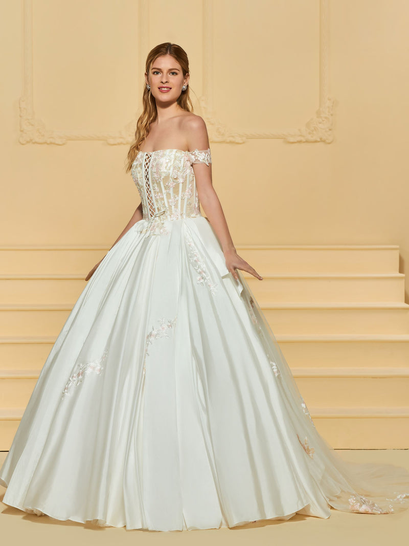 Appliques Off-The-Shoulder Sweep/Brush Ball Gown Garden/Outdoor Wedding Dress