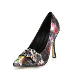 Pointed Toe Slip-On Stiletto Heel Rhinestone Low-Cut Upper Casual Thin Shoes