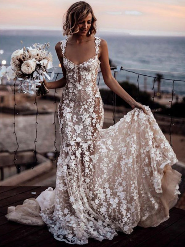 Straps Appliques Trumpet/Mermaid Floor-Length Garden/Outdoor Wedding Dress