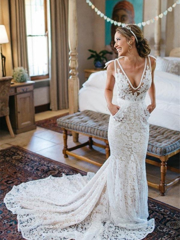 Lace Sleeveless Floor-Length Trumpet/Mermaid Hall Wedding Dress