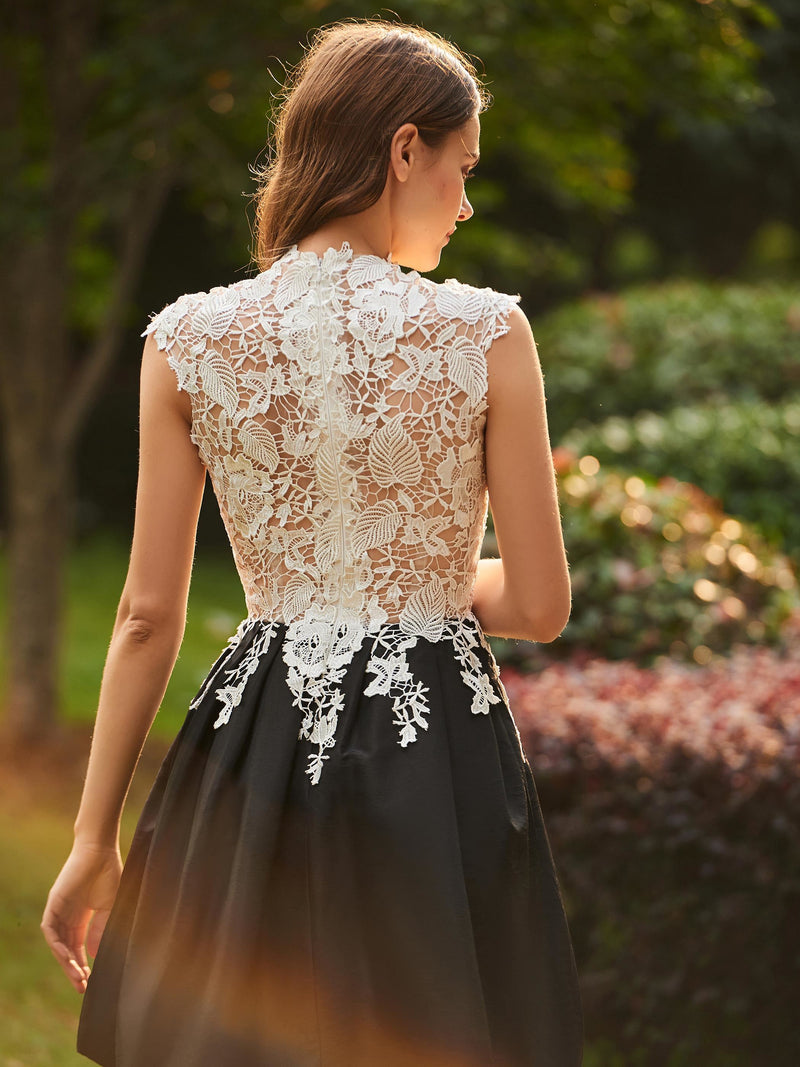 Cap Sleeves High Neck Lace Ball Gown Wedding Party Dress