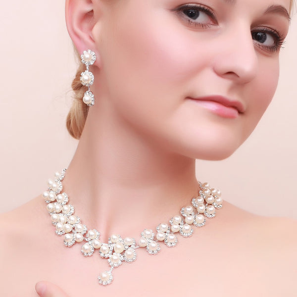 European Necklace Diamante Wedding Jewelry Sets
