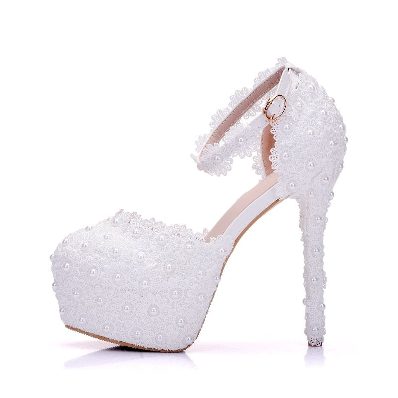 Line-Style Buckle Round Toe Appliques Stiletto Heel 14cm Low-Cut Upper Thin Shoes
