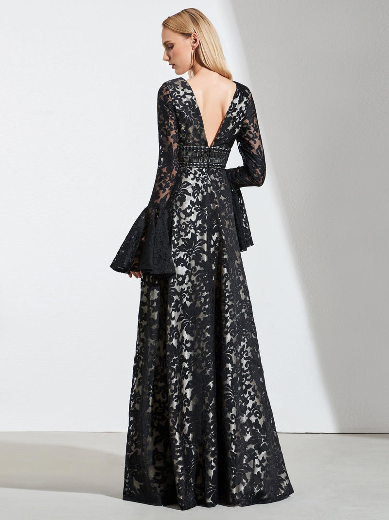 Lace Floor-Length Long Sleeves V-Neck Evening Dress