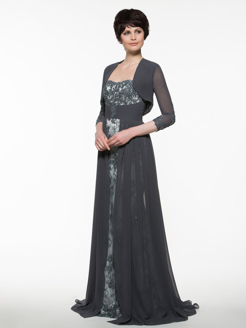 Sweetheart Sweep/Brush A-Line 3/4 Length Sleeves Military Ball Dress