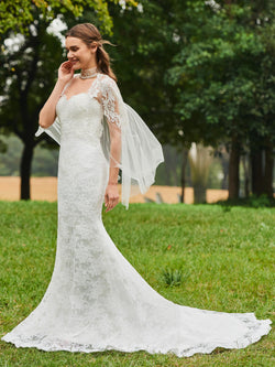 Court Lace Trumpet/Mermaid Floor-Length Hall Wedding Dress