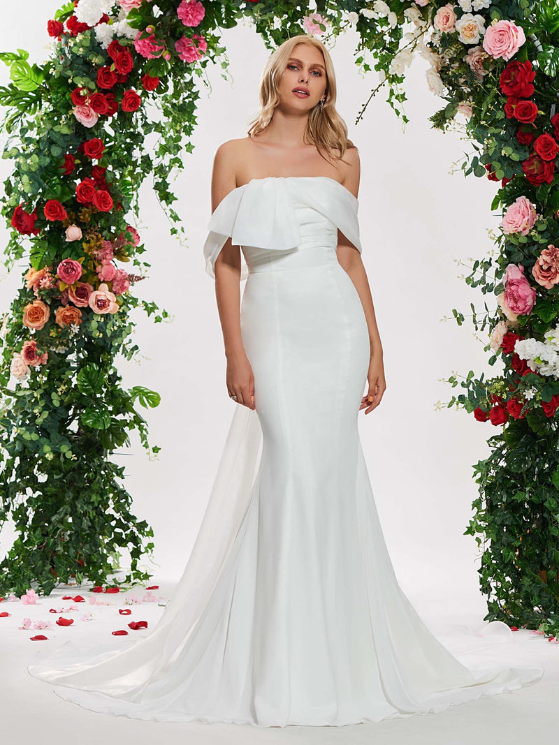 Trumpet/Mermaid Floor-Length Strapless Watteau Hall Wedding Dress