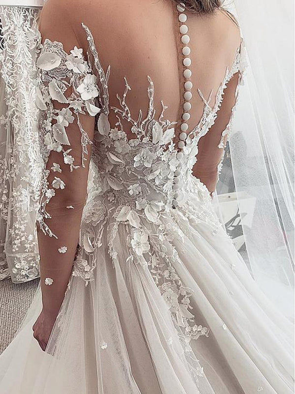 A-Line Appliques Long Sleeves Scoop Hall Wedding Dress