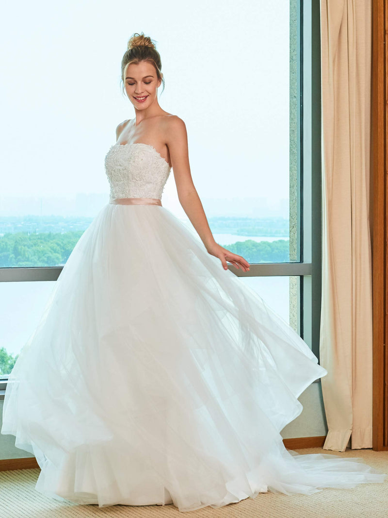 Strapless Floor-Length Appliques Ball Gown Church Wedding Dress