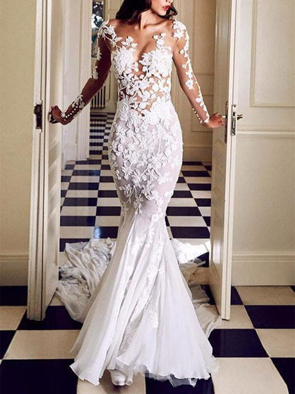 Floor-Length Appliques V-Neck Trumpet/Mermaid Hall Wedding Dress