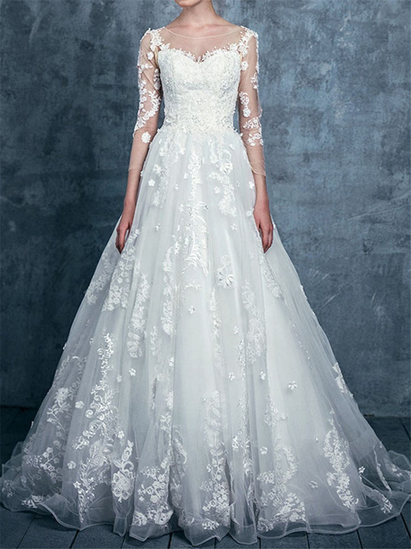 Bateau Floor-Length 3/4 Length Sleeves A-Line Garden/Outdoor Wedding Dress