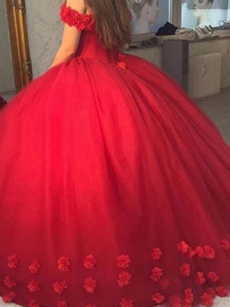 Flowers Floor-Length Sleeveless Off-The-Shoulder Quinceanera Dress