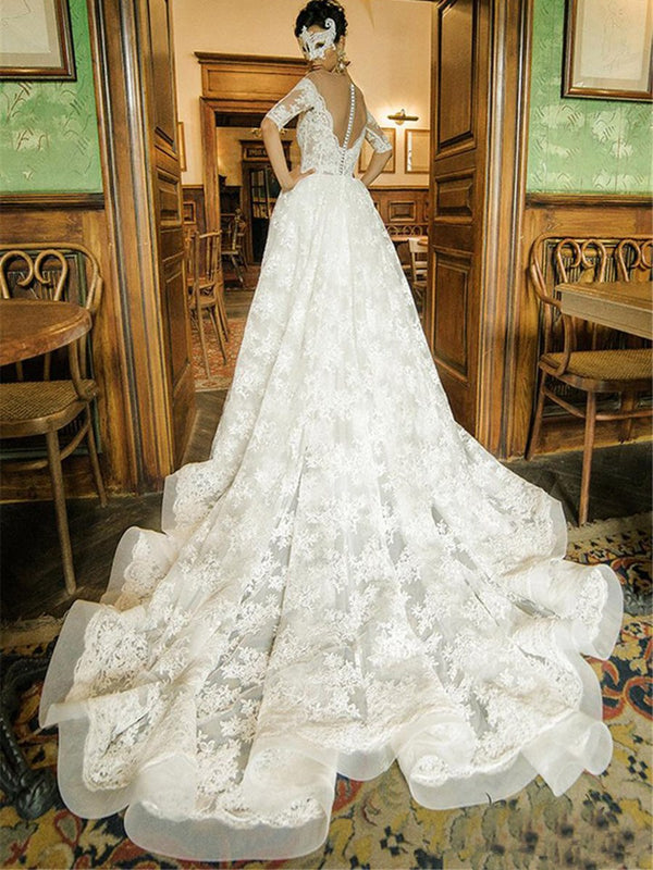 Floor-Length Half Sleeves Scoop Chapel Church Wedding Dress