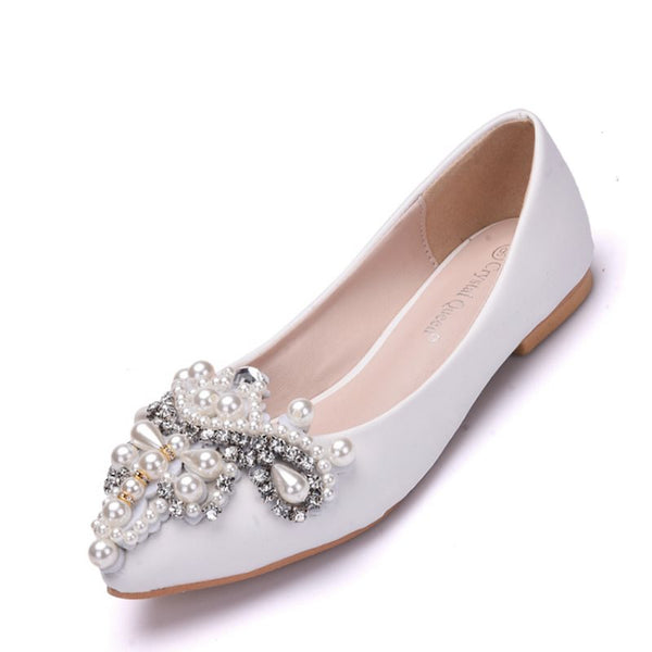 Rhinestone Slip-On Round Toe Block Heel Plain 1cm Thin Shoes