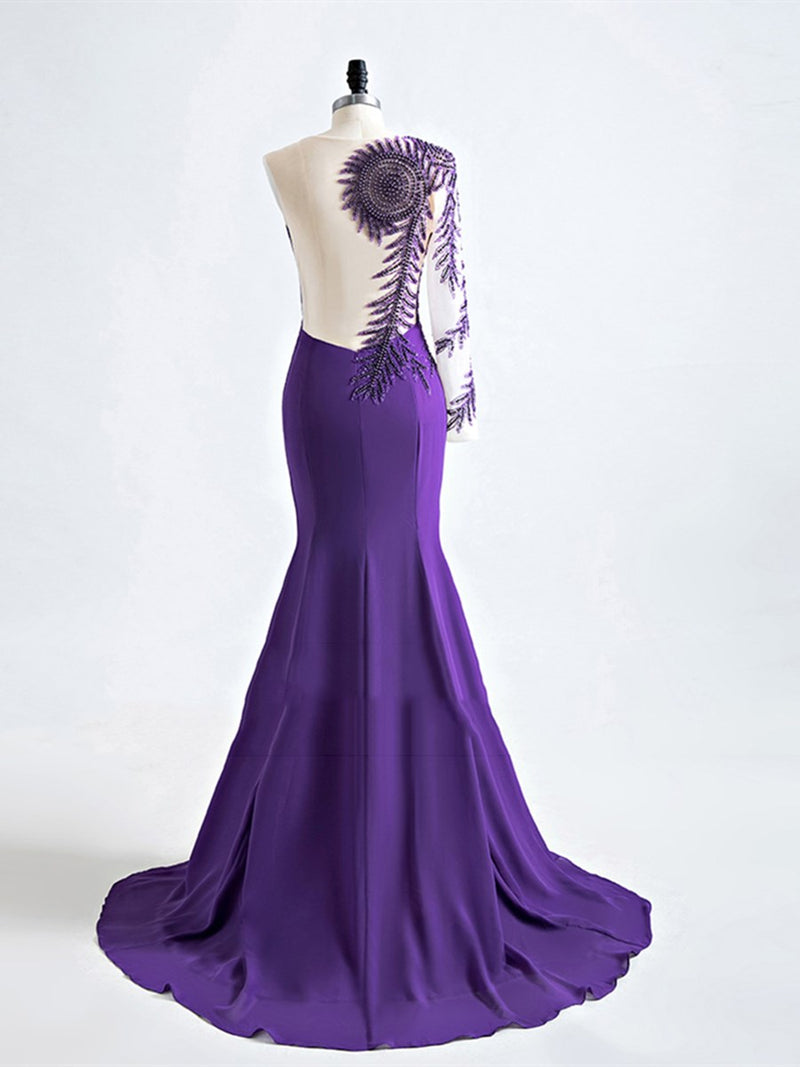 Long Sleeves Pearl Floor-Length Trumpet/Mermaid Evening Dress
