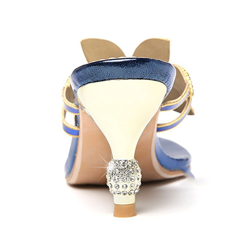 Stiletto Heel Thong Slip-On Rhinestone Summer Color Block Slippers
