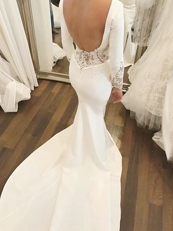 Chapel Floor-Length Split-Front Long Sleeves Church Wedding Dress