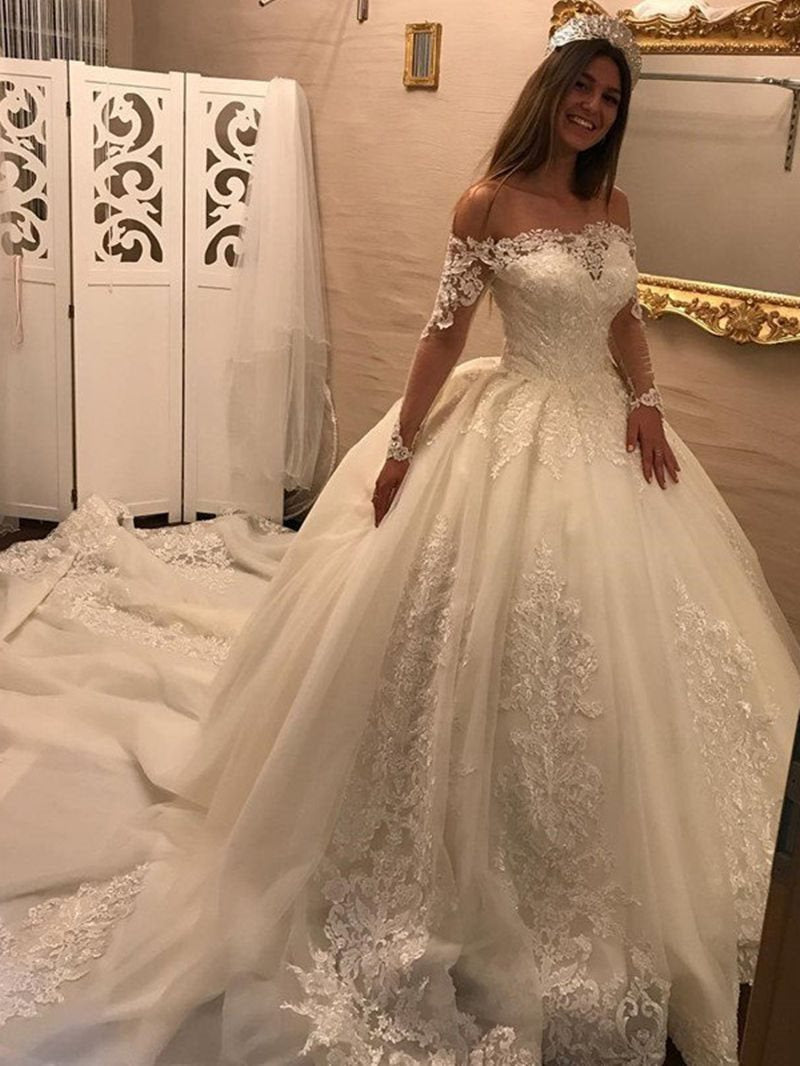 Chapel Floor-Length Off-The-Shoulder Long Sleeves Garden/Outdoor Wedding Dress