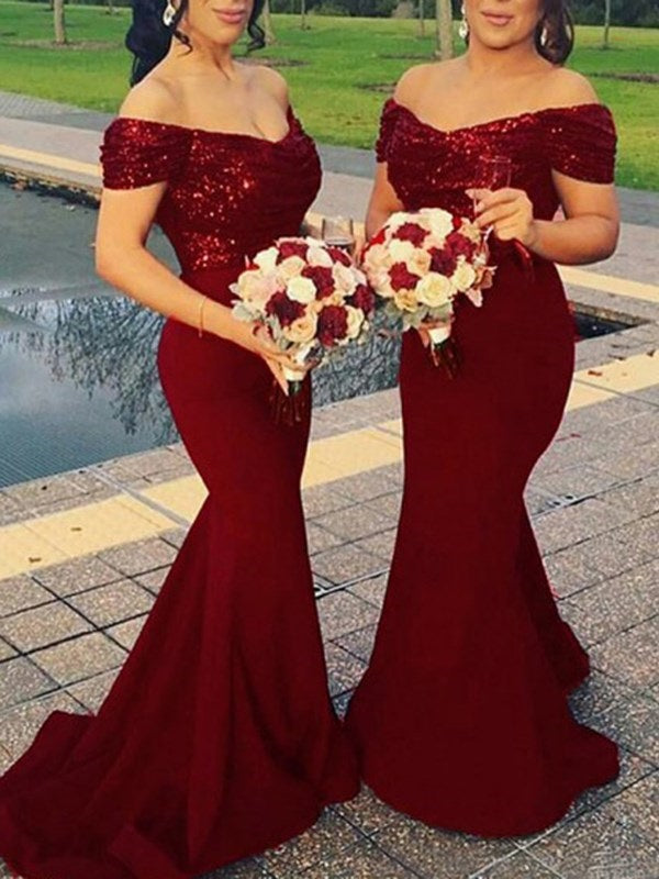 Off-The-Shoulder Trumpet/Mermaid Sequins Sweep/Brush Wedding Party Dress