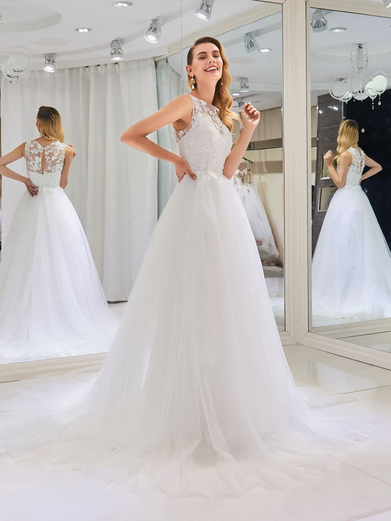 Court Bateau Ball Gown Sleeveless Garden/Outdoor Wedding Dress