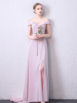 Floor-Length A-Line Short Sleeves Flowers Evening Dress