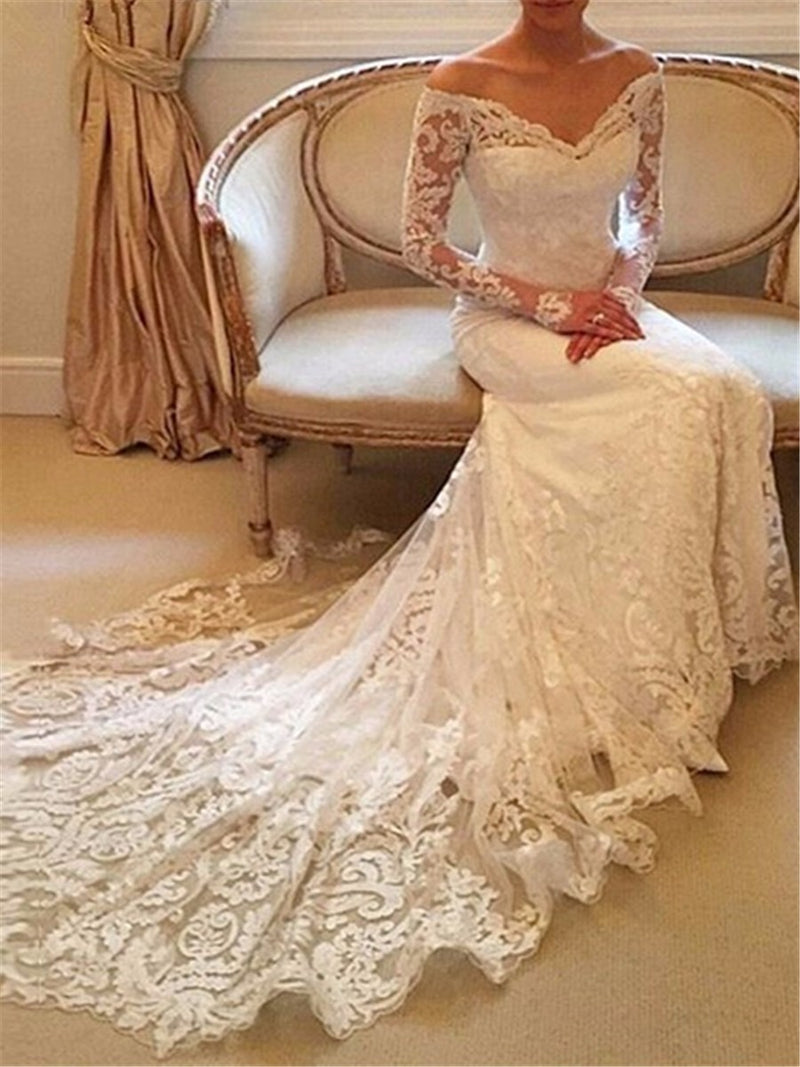 Long Sleeves Off-The-Shoulder Court Lace Church Wedding Dress