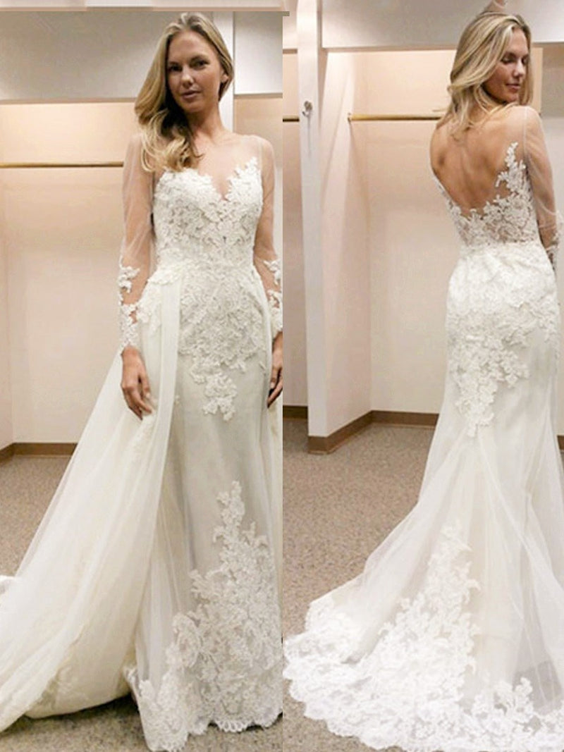 Scoop Floor-Length Appliques Sheath/Column Hall Wedding Dress