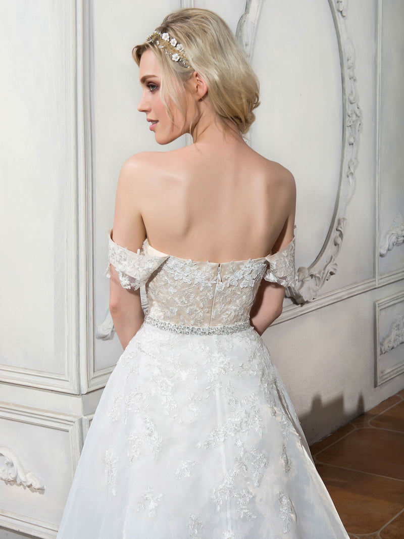 Asymmetry Off-The-Shoulder Court Beading Garden/Outdoor Wedding Dress