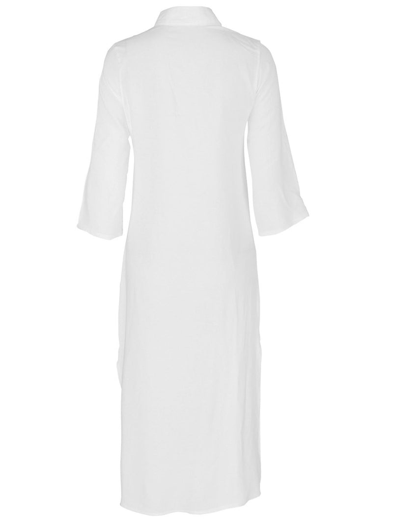 Button Three-Quarter Sleeve V-Neck Straight Plain Dress