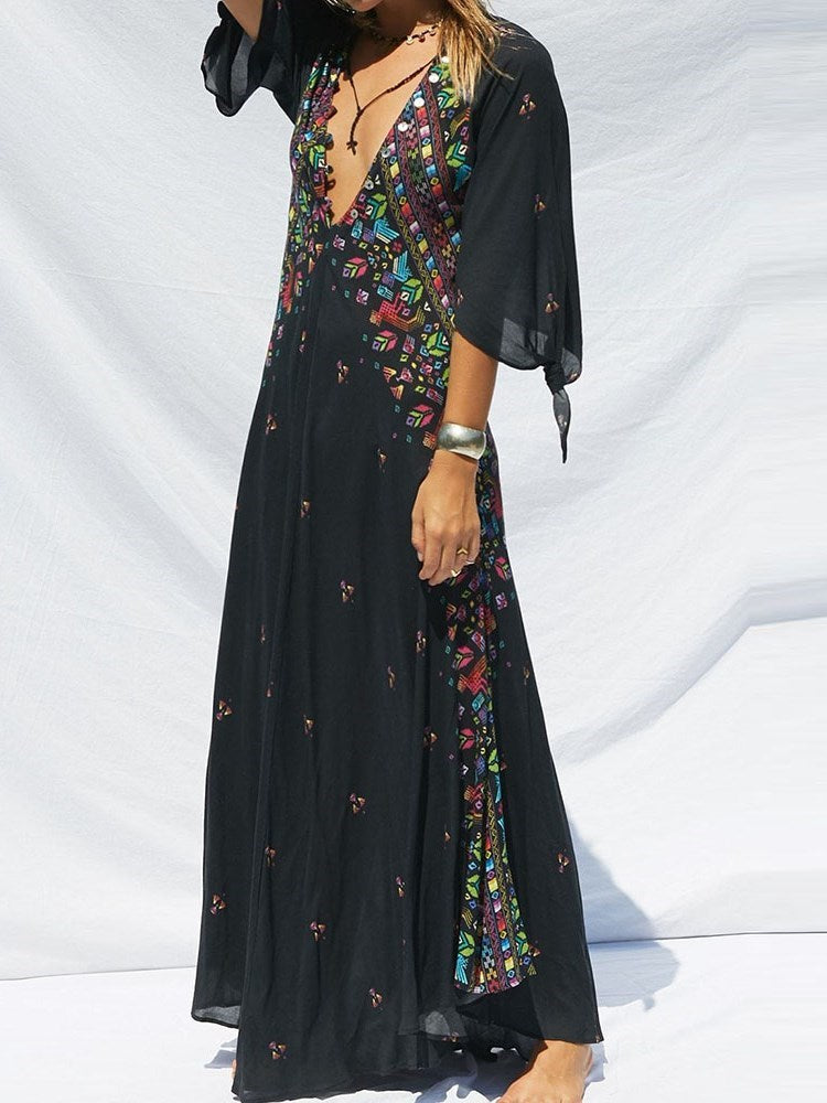 Print Floor-Length Three-Quarter Sleeve Expansion Pullover Dress