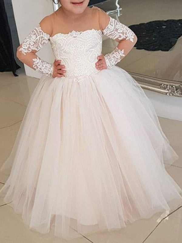Floor-Length Scoop A-Line Appliques Flower Girl Dress