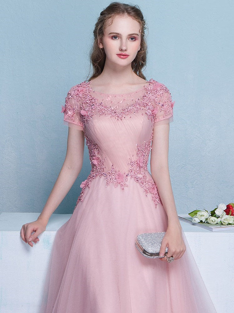 Scoop A-Line Short Sleeves Beading Quinceanera Dress