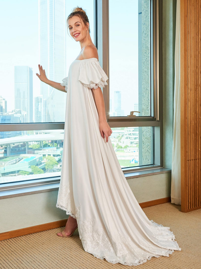 Sweep/Brush Off-The-Shoulder A-Line Short Sleeves Beach Wedding Dress