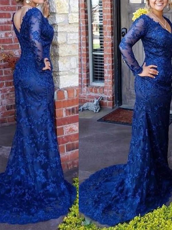 Appliques Long Sleeves V-Neck Sweep/Brush Military Ball Dress